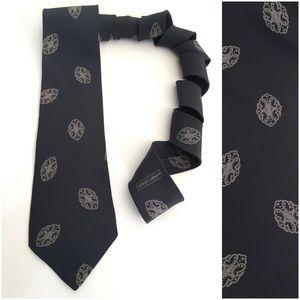 Giorgio Armani Cravatte Black Silk Tie Italy